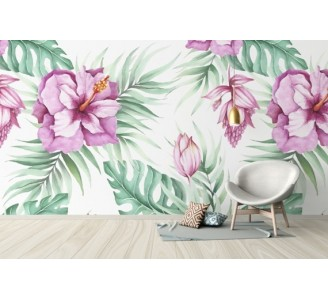 Watercolor tropical flowers Removable Wallpaper