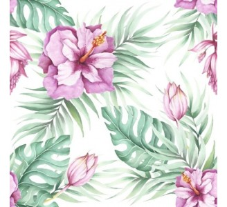 Watercolor tropical flowers Removable Wallpaper pattern