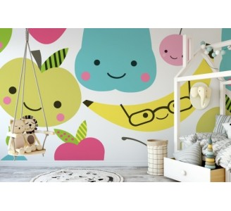 Happy fruits Removable Wallpaper