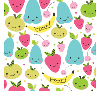 Happy fruits Removable Wallpaper pattern