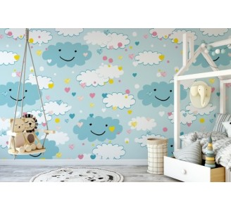 Blue Clouds Removable Wallpaper