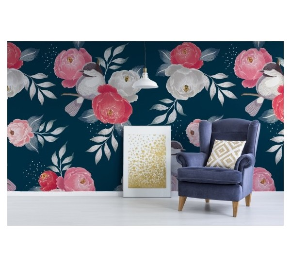 Pink retro flowers Removable Wallpaper