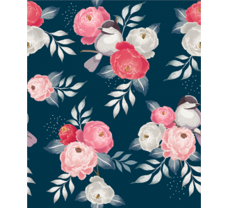 Pink retro flowers Removable Wallpaper pattern