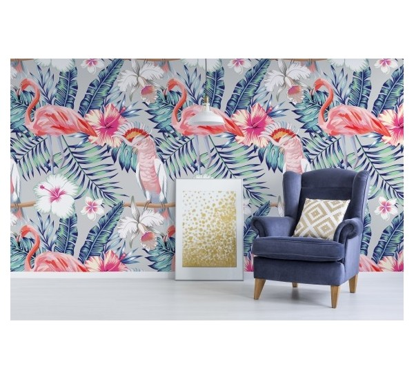 Parrots and Flamingo Removable Wallpaper