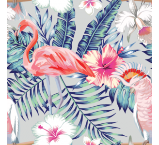Parrots and Flamingo Removable Wallpaper pattern