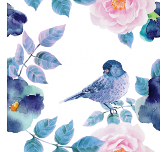 Birds and Flowers Removable Wallpaper pattern