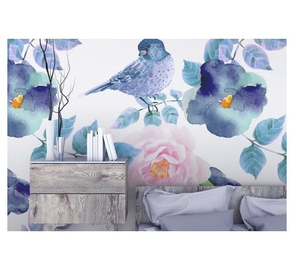 Birds and Flowers Removable Wallpaper