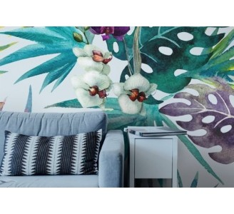 Orchid Leaves Removable Wallpaper