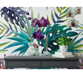 Orchid Leaves Removable Wallpaper livingroom