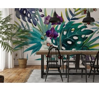Orchid Leaves Removable Wallpaper dining room