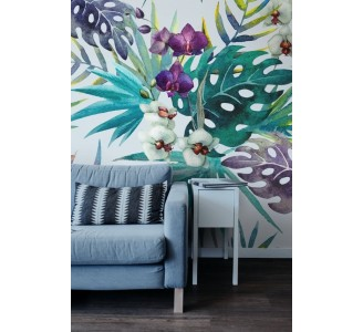 Orchid Leaves Removable Wallpaper full view