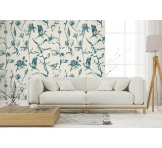Herbs and Birds Removable Wallpaper