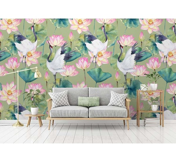 Crane and Lotus Removable Wallpaper