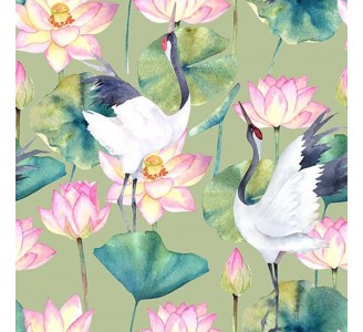 Crane and Lotus Removable Wallpaper pattern