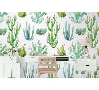 Watercolor Cacti Removable Wallpaper