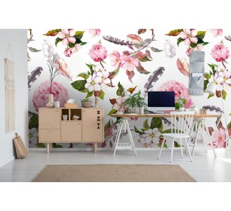 Peony and Feathers Removable Wallpaper