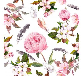 Peony and Feathers Removable Wallpaper pattern