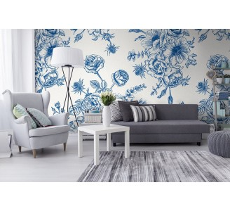 Blue Flora Removable Wallpaper