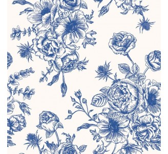 Blue Flora Removable Wallpaper pattern