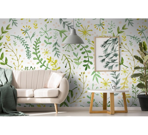 Green Twigs Removable Wallpaper