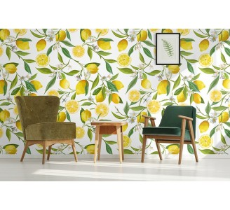 Custom Lemons Laminate Vinyl Wallpaper