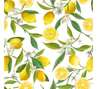 Custom Lemons Laminate Vinyl Wallpaper pattern