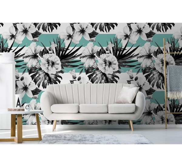 Watercolor Hibiscus Removable Wallpaper