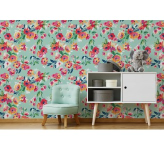 Floral Happiness Removable Wallpaper full view