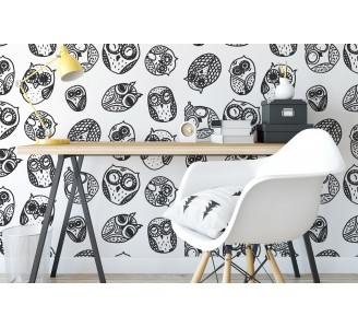 Vintage Owls Removable Wallpaper