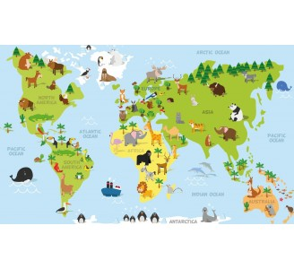 World Map for Kids Removable Wallpaper pattern