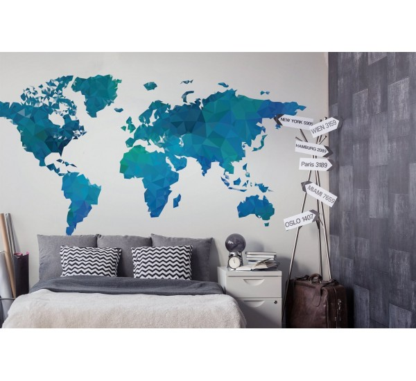 3D World Map Removable Wallpaper