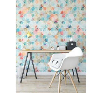 Colorful Cubes Removable Wallpaper living room