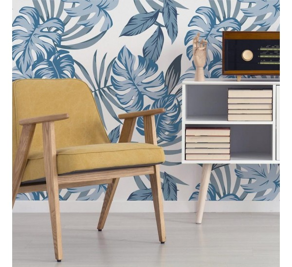Exotic Blue Leaves Removable Wallpaper