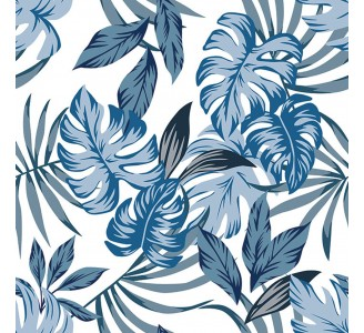Exotic Blue Leaves Removable Wallpaper pattern