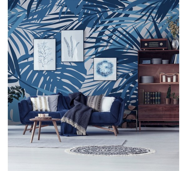 Tropical Blue Leaves Removable Wallpaper