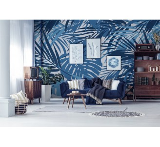 Tropical Blue Leaves Removable Wallpaper full view