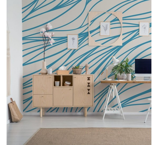 Blue and Beige Lines Removable Wallpaper