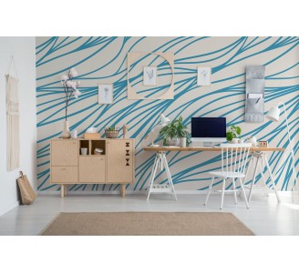 Blue and Beige Lines Removable Wallpaper full view