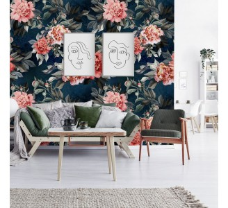 Watercolor Pink Peonies Removable Wallpaper