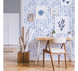 Blue Watercolor Flowers Removable Wallpaper