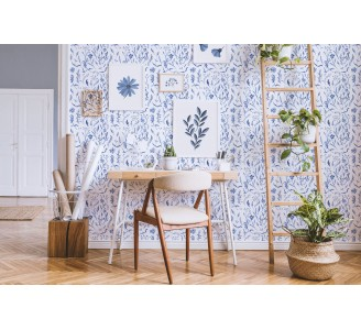 Blue Watercolor Flowers Removable Wallpaper full view
