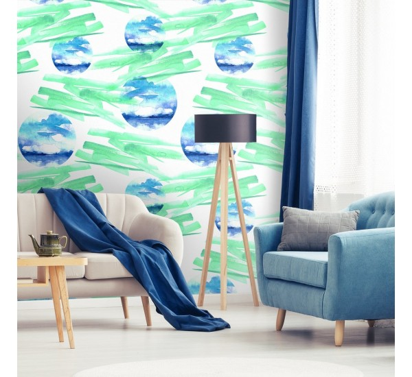 Green Abstract Watercolors Removable Wallpaper