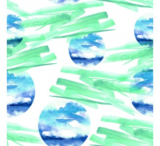 Green Abstract Watercolors Removable Wallpaper pattern