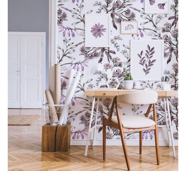 Blooming Purple Flowers Removable Wallpaper