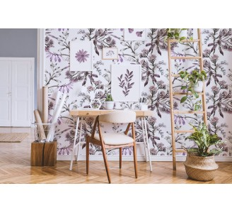 Blooming Purple Flowers Removable Wallpaper full view