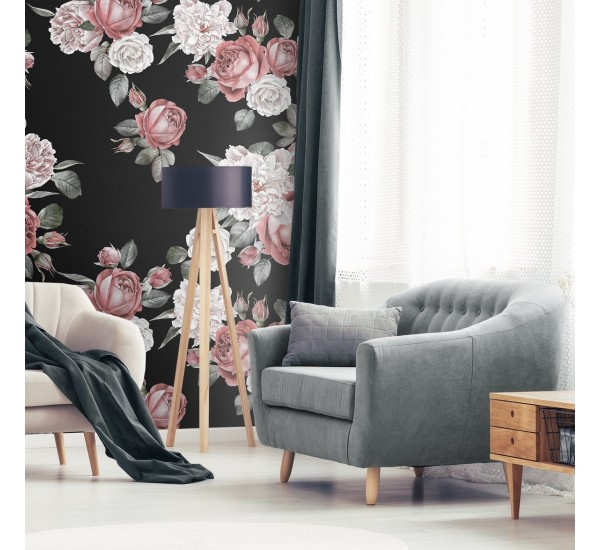 Red Roses And White Peonies Removable Wallpaper