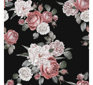 Red Roses And White Peonies Removable Wallpaper pattern
