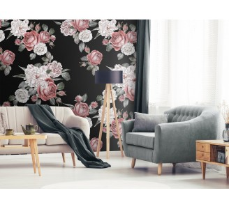 Red Roses And White Peonies Removable Wallpaper full view