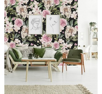 Pink and White Peony Flowers Removable Wallpaper