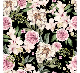 Pink and White Peony Flowers Removable Wallpaper pattern